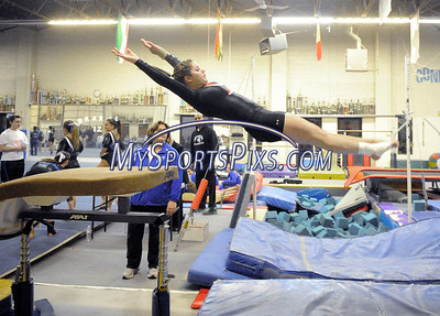 2/15/2012 Mike Orazzi | Staff Bristol Central's Kaley Beauchamp warms up before Wednesday night's gymnastics meet at CATS in Cheshire.