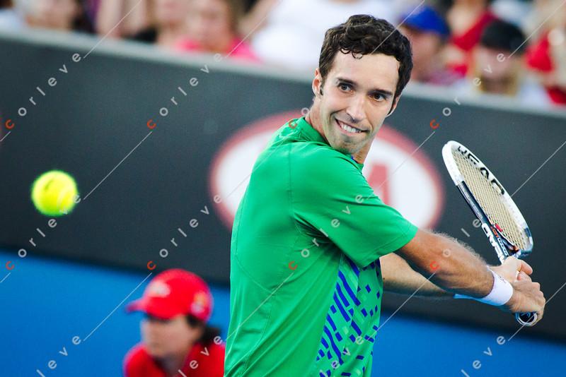 2012 Australian Open - KUKUSHKIN, Mikhail (KAZ) vs MONFILS, Gael (FRA) [14] / corleve / Mark Peterson