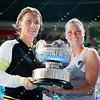 2012 Australian Open - Svetlana Kuznetsova and Vera Zvonerava with Womens Doubles Trophy / corleve / Mark Peterson