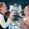 2012 Australian Open - Svetlana Kuznetsova and Vera Zvonerava with Womens Doubles Trophy / corleve / Mark Peterson