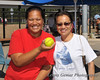 Tammy Niu and Claire Gemar, with the Home Run ball.
