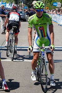 Peter Sagan approaching the start line. Jens Voight apparently still looking for the start line. :-)