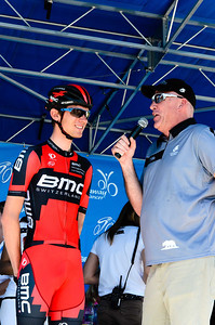 Tejay van Garderen being interviewed at the sign in before the start of stage 2 in Murietta.