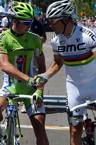 Peter Sagan and world champion Philippe Gilbert share a greeting.
