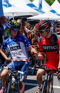 Timmy Duggan and Tejay van Garderen (eventual race winner) share a greeting.