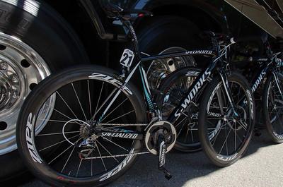Syvain Chavanel's race bike on stage 2 start in Murietta.