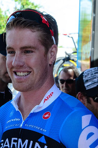 A relaxed and happy looking Tyler Farrar before stage 1.