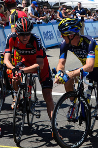 Tejay van Garderen shares a light moment with 2010 Tour of California winner Mick Rogers.Tejay and Mick would go on to finish one, two at the race's end.
