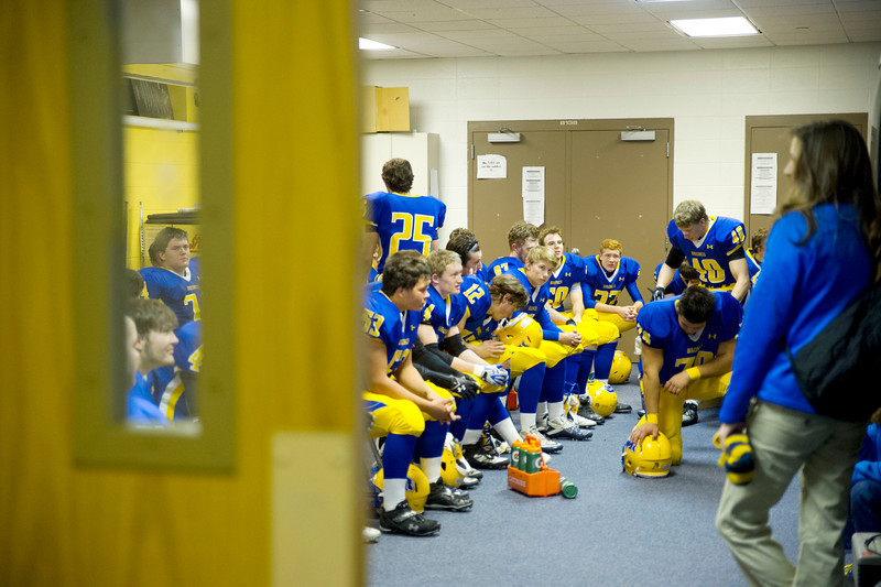 The Sheridan Broncs gather inside before playing the Plainsmen on Friday, Nov. 1, 2013, at Sheridan High School.