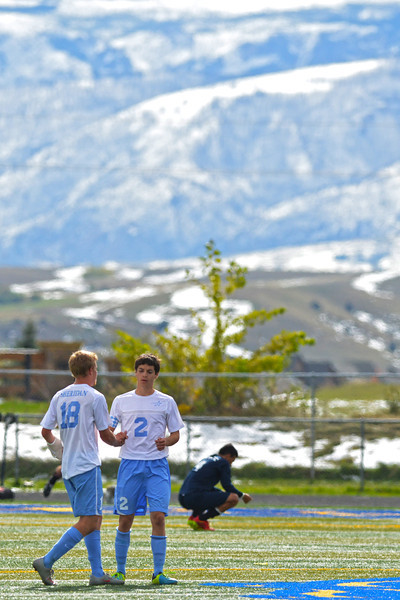 Sheridan College's Corbin Shriner and Hunter Reece shake hands after a 2-1 win over Western Nebraska Community College Monday afternoon in Sheridan. (Brad Estes/The Sheridan Press)