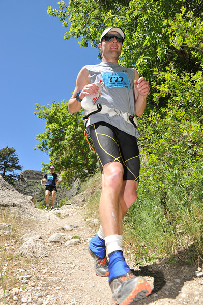 Mark Johnson bounds down the trail in the 50K race Saturday during the Bighorn Mountain Wild and Scenic Trail Run in Tongue River Canyon.