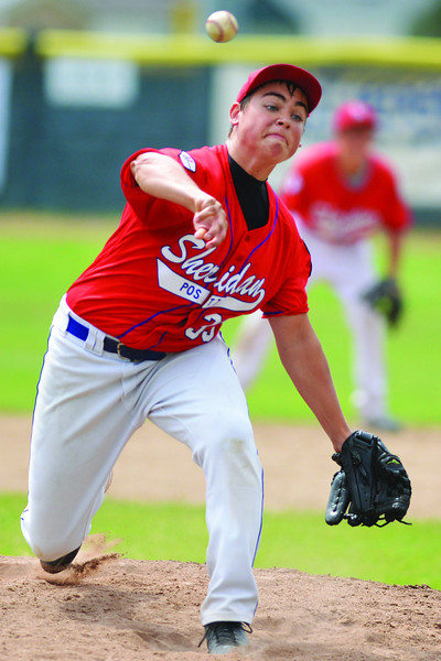 James Timberlake fires a pitch during the Sheridan Jets State B Title Game win in July. (Brad Estes)