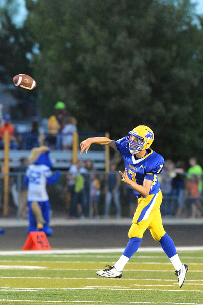Kameron Eckard lets go of a pass during the second quarter Friday night.