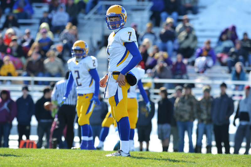 Broncs quarterback Kameron Eckard and wide receiver Joe Shassetz look to the sidelines for a play during the first quarter of Sheridan's 39-10 loss in the Energy Bowl Saturday afternoon in Gillette. (Brad Estes/The Sheridan Press)