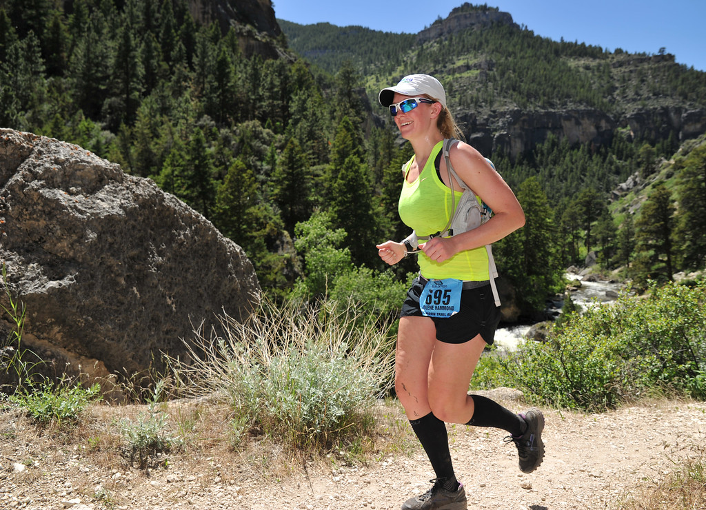 Jolene Hammond paces herself in the 50K during the Bighorn Mountain Wild and Scenic Trail Run Saturday in Tongue River Canyon.