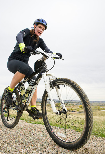 Jake Vernon peddles up Soldier Creek Trail in the 25-mile mountain bike race during the Biketober Fest fundraiser on Saturday. The fundraising event was to benefit the Sheridan County Land Trust which made projects like the Soldier Ridge Trail possible.