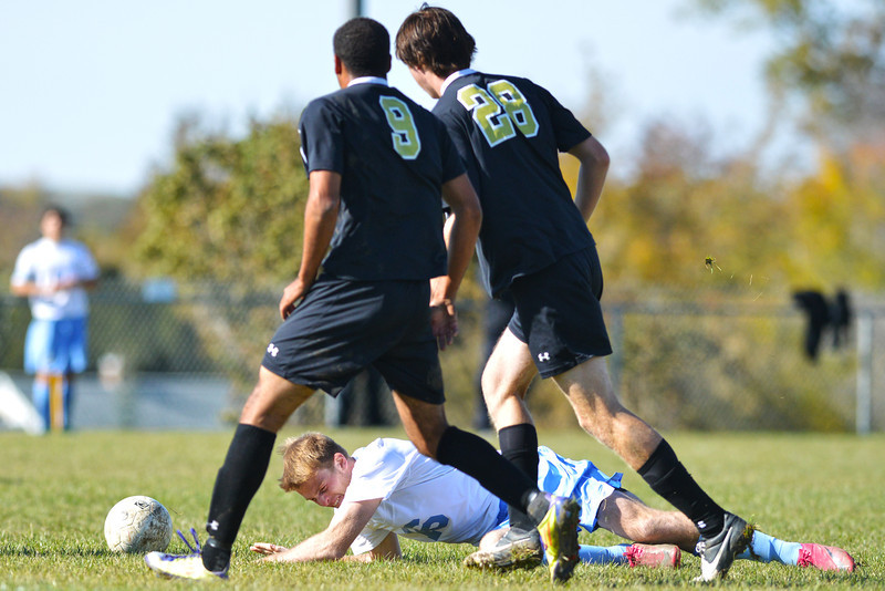 Tanner Alseike is fouled outside the box late in the second half of the Generals 2-1 loss to Northeastern Junior College Wednesday at Maier Field. The Generals would score their only goal on the free kick from the foul. (The Sheridan Press/Brad Estes)