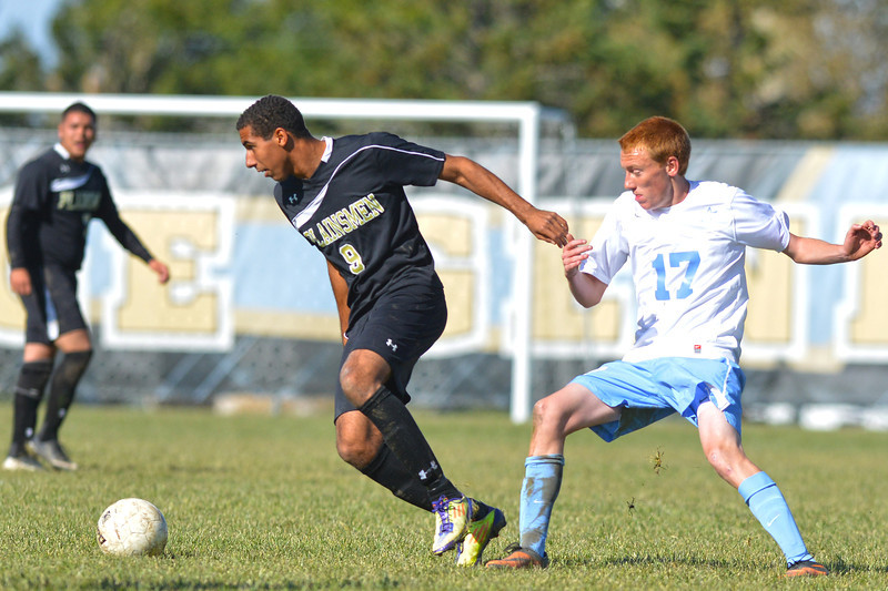 Drew Porter battles at midfield for ball during the second half of the Generals 2-1 loss to Northeastern JC Wednesday at Maier Field. (The Sheridan Press/Brad Estes)