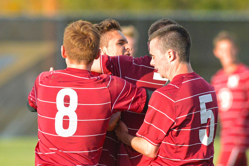 Northwest College players celebrate their winning goal Wednesday in a 3-2 victory over Sheridan College at Maier Field. (Brad Estes/The Sheridan Press)