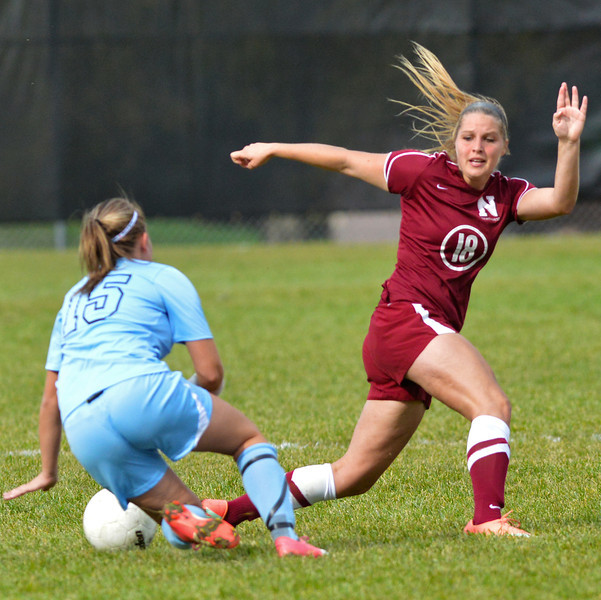 Ricki Ryan works against Sheridan College's Mackenzie Muir during the second half of Northwest College's 3-0 win over the Lady Generals Wednesay afternoon at Maier Field. (Brad Estes/The Sheridan Press)