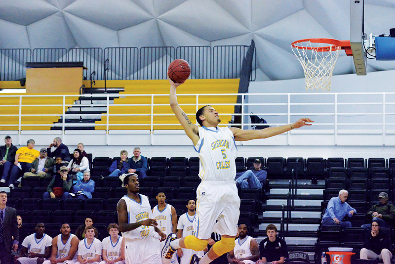 Kaileb Rodriguez rises for a dunk during the second half of the Generals 107-73 win over Colorado Northwestern Wednesday night at the Bruce Hoffman Golden Dome. (The Sheridan Press/Brad Estes)