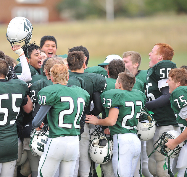 Tongue River Eagles players celebrate their home game victory over Moorcroft on Friday. (Justin Sheely/The Sheridan Press)