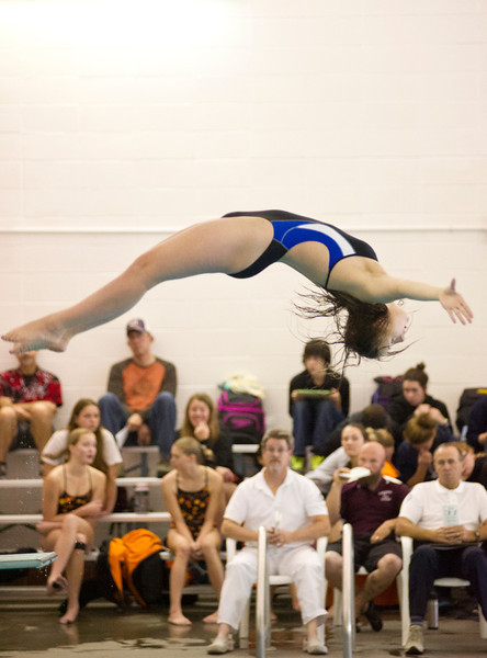 Lady Broncs diver Brielle Smiley performs a dive before the judges during the Sheridan invite Saturday at the swimming pool in Sheridan Junior High School. (Justin Sheely/The Sheridan Press)