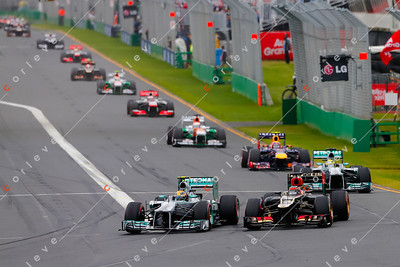 2013 Australian F1 GP - Lewis Hamilton and Nico Rosberg on lap 1