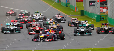 2013 Australian F1 GP - Lap 1 at turn 1