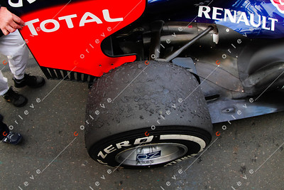 2013 Australian F1 GP - The marbled tyres of Vettel's car post race