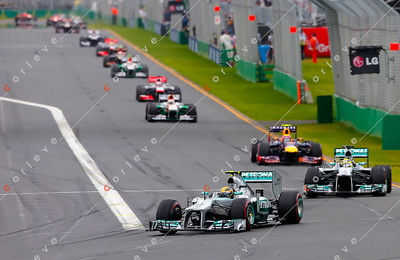 2013 Australian F1 GP - Lewis Hamilton and Nico Rosberg