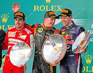 2013 Australian F1 GP - Kimi Raikkonen, Fernando Alonso and Sebastian Vettel on podium