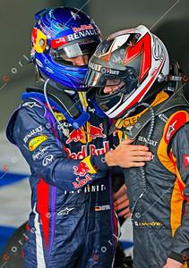 2013 Australian F1 GP - Sebastian Vettel congratulates Kimi Raikkonen