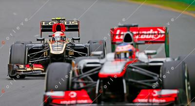 2013 Australian F1 GP - Kimi Raikkonen pursues Jenson Button