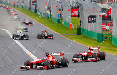 2013 Australian F1 GP - Felipe Massa and Fernando Alonso on lap 1