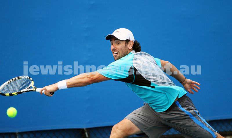 9-1-13. Australian Open Qualifiers. Amir Weintraub def Wayne Odesnik 7-6, 4-6, 6-3. Odesnik. Photo: Peter Haskin