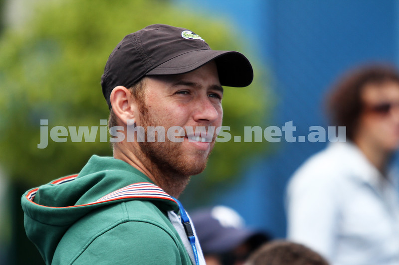 9-1-13. Australian Open Qualifiers. Amir Weintraub def Wayne Odesnik 7-6, 4-6, 6-3. Dudi Sela at court side. Photo: Peter Haskin