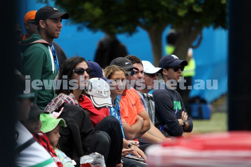 9-1-13. Australian Open Qualifiers. Amir Weintraub def Wayne Odesnik 7-6, 4-6, 6-3. Dudi Sela and Shahar Peer court side. Photo: Peter Haskin