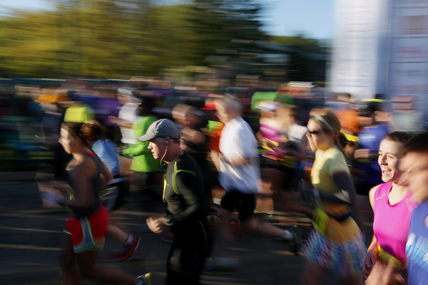 Record-Eagle/Keith King<br /> Runners leave the starting line Saturday, May 25, 2013 during the 31st annual Bayshore Marathon in Traverse City.