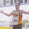 Record-Eagle/Keith King<br /> Clint Verran finishes first in the men's half marathon Saturday, May 25, 2013 during the 31st annual Bayshore running races.