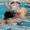 "Fairview High School's Julia Box emerges from under the water while swimming the 100-yard backstroke during the Boulder County Invitational swim meet at the Veterans Memorial Aquatic Center in Thornton. For more photos of the meet go to  <a href=""http://www.dailycamera.com"">http://www.dailycamera.com</a><br /> Jeremy Papasso/ Camera"