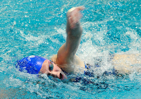 "Broomfield High School's Kate Peterson competes in the 500-yard freestyle event during the Boulder County Invitational swim meet at the Veterans Memorial Aquatic Center in Thornton. For more photos of the meet go to  <a href=""http://www.dailycamera.com"">http://www.dailycamera.com</a><br /> Jeremy Papasso/ Camera"