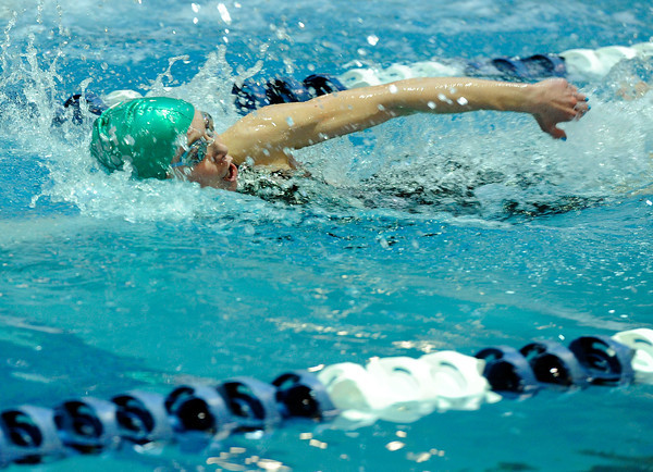 "Niwot High School's Hannah Driscoll swims in the 50-yard freestyle event during the Boulder County Invitational swim meet at the Veterans Memorial Aquatic Center in Thornton. For more photos of the meet go to  <a href=""http://www.dailycamera.com"">http://www.dailycamera.com</a><br /> Jeremy Papasso/ Camera"