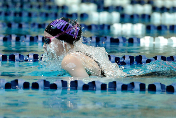 """Boulder High School's Cori Orr competes in the girls 200 yard medley relay during the Boulder County Invitational swim meet at the Veterans Memorial Aquatic Center in Thornton. For more photos of the meet go to  <a href=""""http://www.dailycamera.com"""">http://www.dailycamera.com</a><br /> Jeremy Papasso/ Camera"""