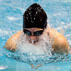 """Fairview High School's Brooklyn Fano swims in the the 100-yard breastroke during the Boulder County Invitational swim meet at the Veterans Memorial Aquatic Center in Thornton. For more photos of the meet go to  <a href=""""http://www.dailycamera.com"""">http://www.dailycamera.com</a><br /> Jeremy Papasso/ Camera"""