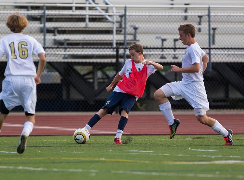 High School Boys Varsity Soccer.  Notre Dame Crusaders at Corning Hawks.  August 30, 2013.