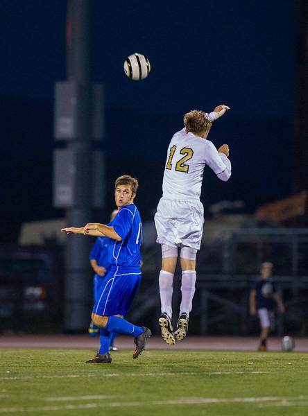 Varsity Boys High School Soccer.  Horseheads Blue Raiders at Corning Hawks.  October 4, 2013.