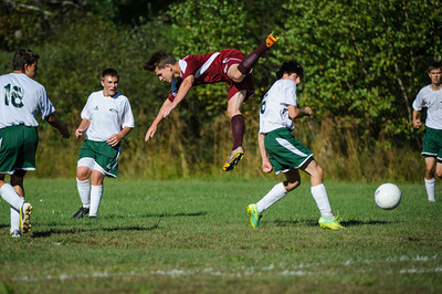 Varsity soccer between Monadnock (white) and Derryfield (maroon) held on September 17, 2013 at the Monadnock Regional High School in Swanzey, NH.