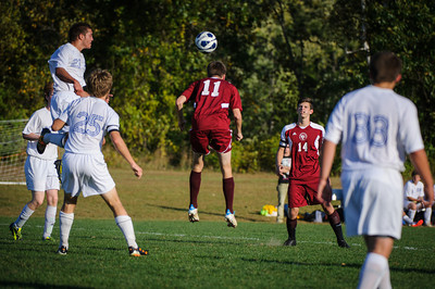 Varsity soccer between Concord Christian Academy (white) and Derryfield (maroon) held on October 2, 2013 at the NHTI in Concord, NH.