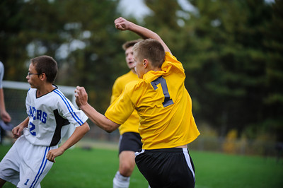 Varsity soccer between Hinsdale (white) and Derryfield (yellow) held on October 16, 2013 at the The Derryfield School in Manchester, NH.